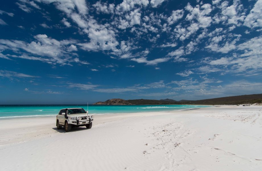 8-2 car on lucky bay beach